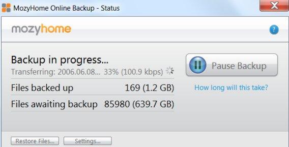 Mozy Backupprozess: Je nach Internetleitung dauert das Backup eine gewisse Zeit