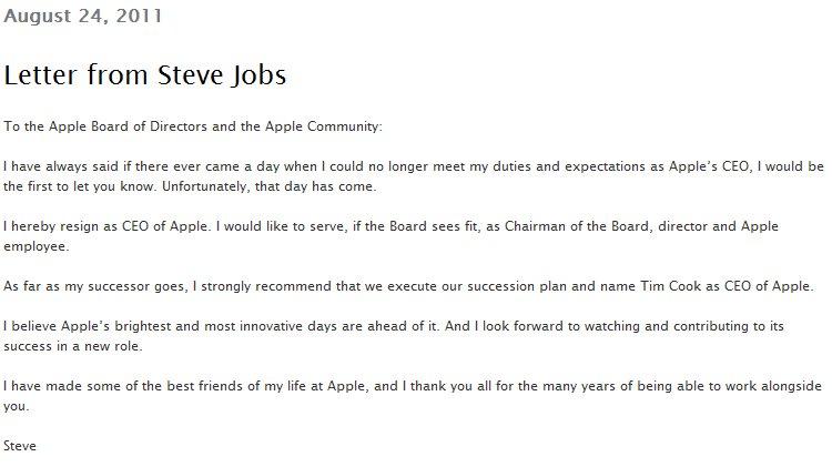 Öffentlicher Rücktrittsbrief von Steve Jobs