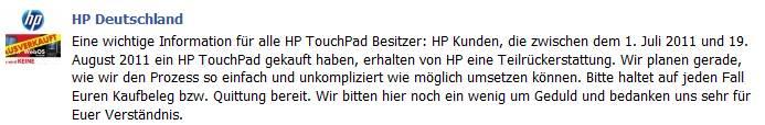 HP kündigt Rückerstattung auch für Deutschland an.