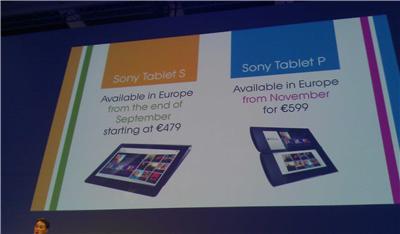 Preise der beiden Sony Tablets S und P