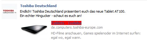Toshiba kündigt via Facebook Marktstart für AT100 an