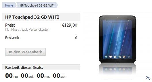 Notebooksbilliger.de verkauft nochmals 1300 HP TouchPads mit 32 GB und WiFi