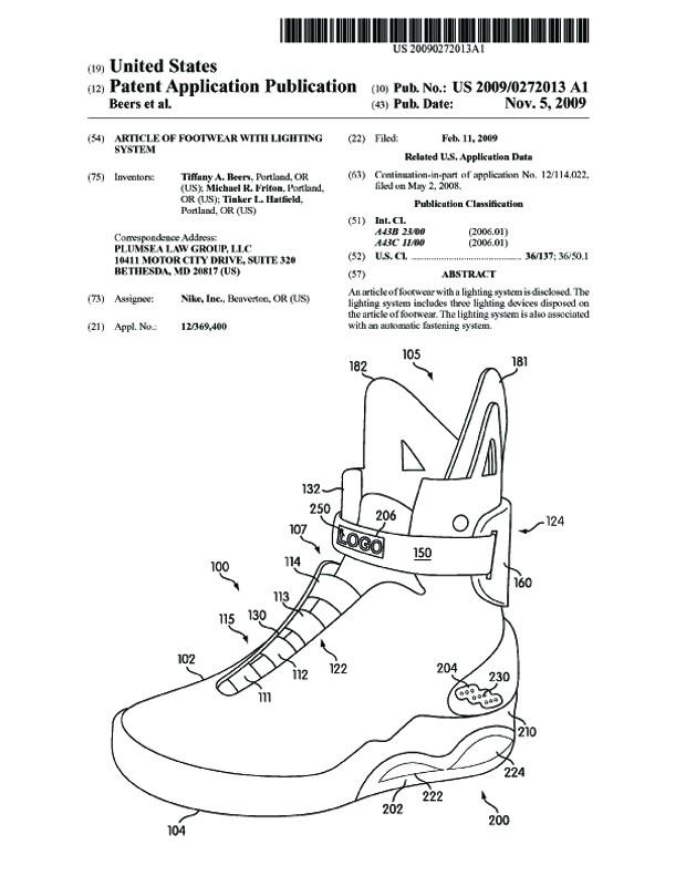 """Nike Patent für die Schuhe aus """"Zurück in die Zukunft II"""""""