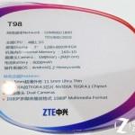 Technische Details des ZTE T98 Quadcore Tablets