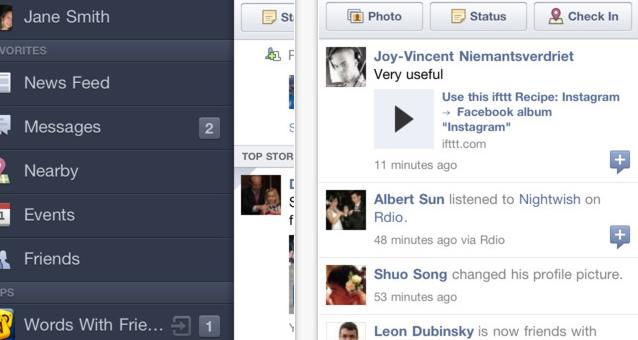 Facebook veröffentlicht offizielle iPad App - Facebook iOS App 4.0