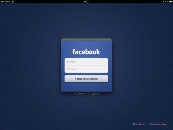 Facebook für das iPad - Der Startbildschirm