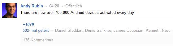 700.000 Android Aktivierungen täglich