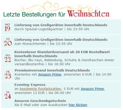 Amazon Bestellfristen zu Weihnachten 2011 - Rechtzeitig bestellen