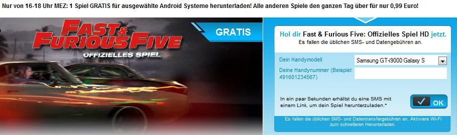 Hier gibt es bis 18 Uhr Fast and Furios 5 kostenlos für Android