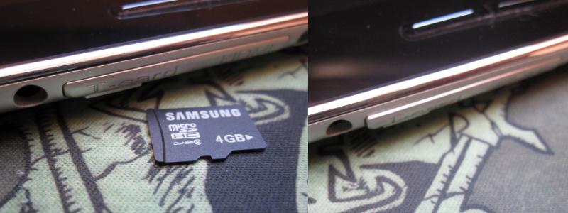 Deutlich zu erkennen: Die Klappe schließt nach dem Einlegen der microSD Karte nicht mehr richtig.