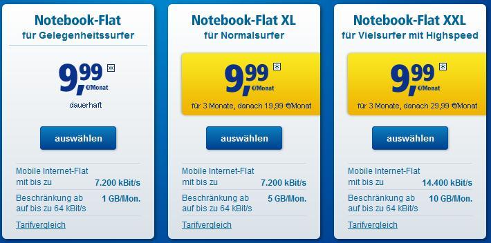 Die 1und1 Notebook Flatrates - Auch für Tablets geeignet