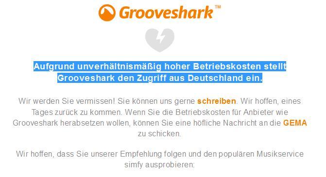 Grooveshark seit heute offline