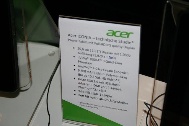 Offizielle Details von Acer zum Iconia Tab A700
