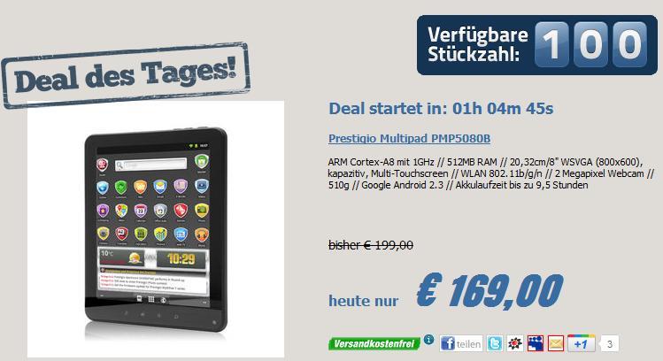 Prestigio MultiPad PMP5080B für 169,- Euro