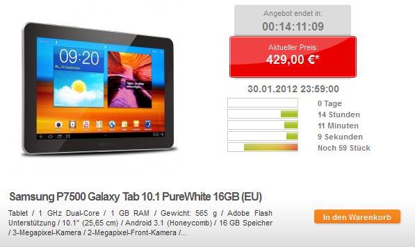 Samsung Galaxy Tab 10.1 für 429,- Euro bei getgoods - Nur heute!