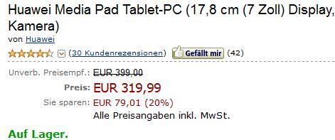 Das Huawei MediaPad für nur 319,99 Euro bei Amazon