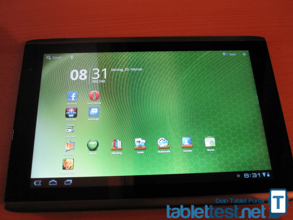 Das Acer Iconia Tab A501 - Frontansicht